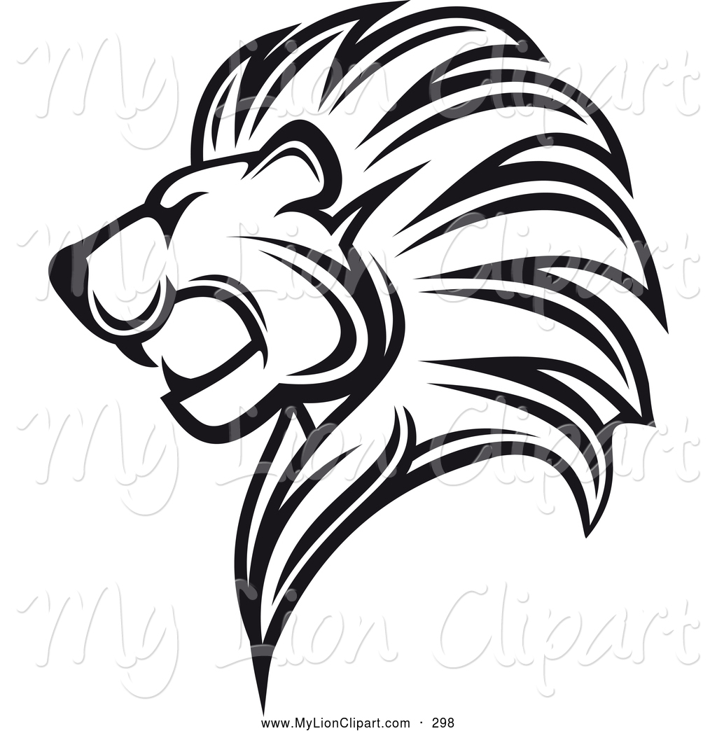 1024x1044 Clipart Of A Black And White Roaring Lion Logo By Vector Tradition