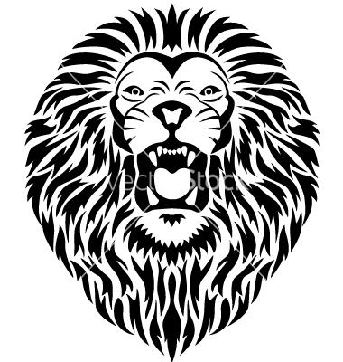 380x400 Lion Head Roar Silhouette