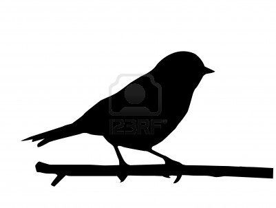 401x302 Silhouette Of The Small Bird On Branch Stock Photo Crafting