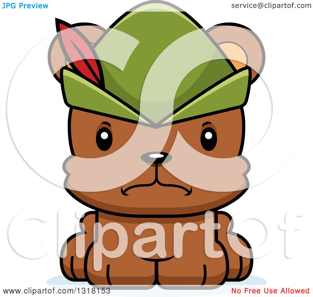 1080x1024 Animal Clipart Of A Cartoon Cute Mad Bear Cub Robin Hood