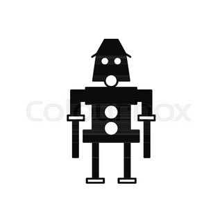 320x320 Robot Icon. Silhouette Illustration Of Artificial Robot Vector