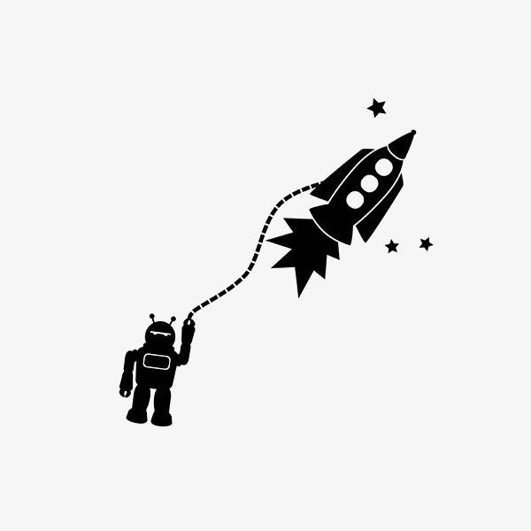 600x600 Rocket, Creative Rocket Silhouette, Robot, Cartoon Robot Png Image