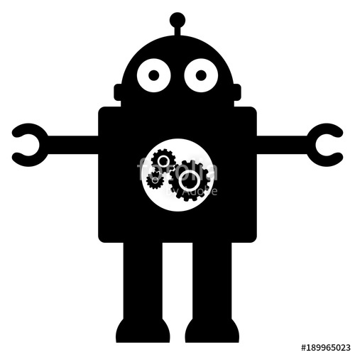 500x500 Silhouette Of A Toy Robot On A White Background Stock Image