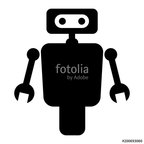 500x500 Simple, Flat, Black Robot Silhouette Illustrationicon. Isolated