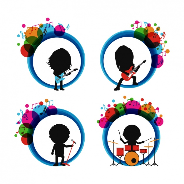 626x626 Rock Band Silhouettes Vector Free Download