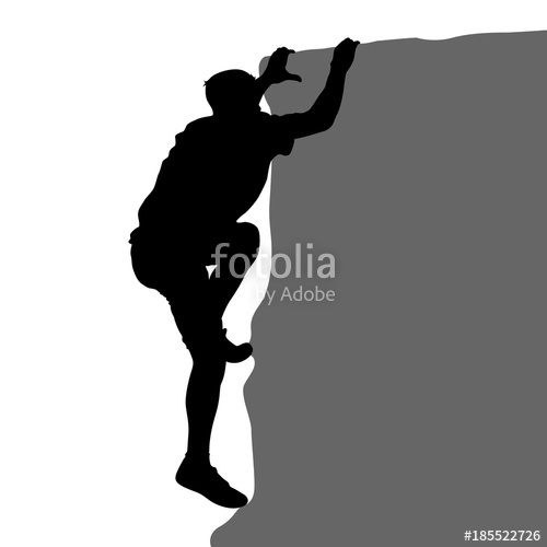 500x500 Black Silhouette Rock Climber On White Background Stock Image
