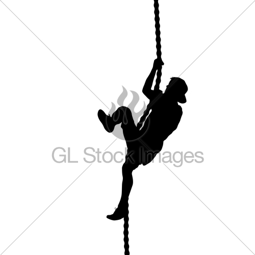 500x500 Black Silhouette Mountain Climber Climbing A Tightrope Up Gl