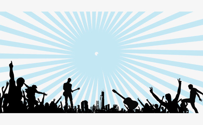 650x400 Play Music Crowd Silhouette Ray, Music, Poster, Rays Png And Psd