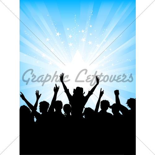 500x500 Crowd On Starburst Background Gl Stock Images
