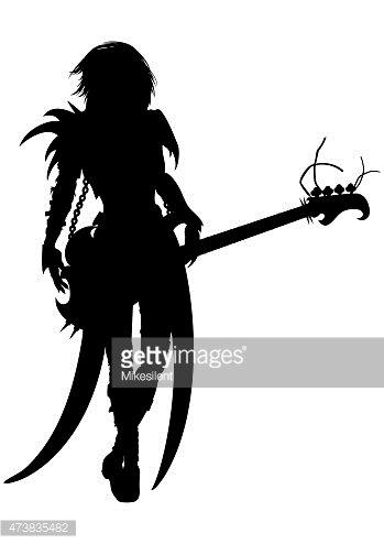 349x494 Rock Musician Woman Silhouette Stock Vectors