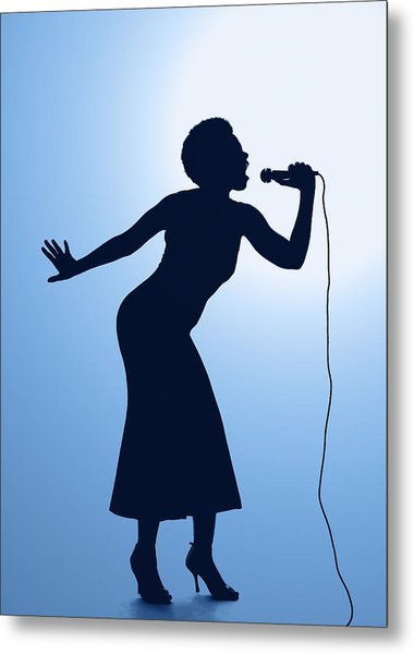 380x600 Silhouette Of Female Singer Singing On Microphone Photograph By Pm