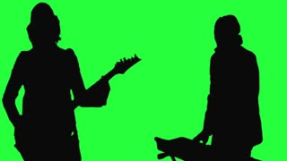 320x180 Female Singer In Silhouette On A Green Screen Motion Background