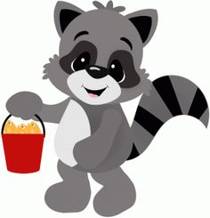 236x245 Cartoon Raccoon With Fishing Pole