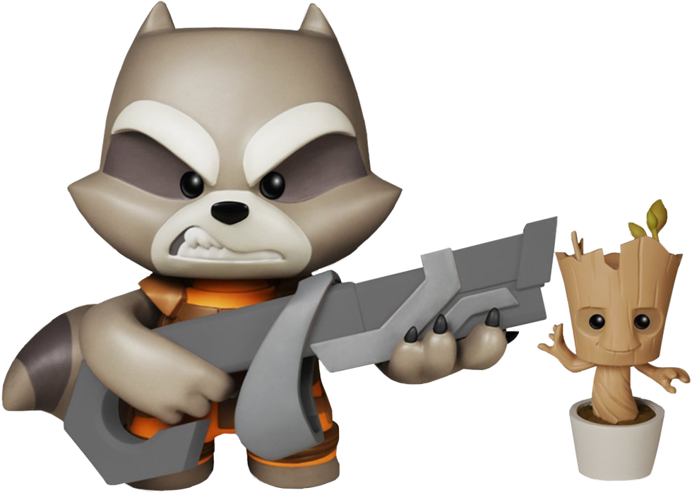 980x701 Rocket Raccoon With Potted Groot Super Deluxe Figure Guardians