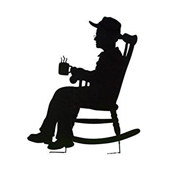 355x355 Charming Rocking Chair Shadow Figure Yard Stakes