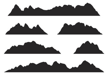 345x240 Mountains Silhouettes On The White Background. Vector Set