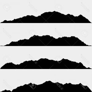 300x300 Set Black White Mountain Silhouettes Background Border Rocky
