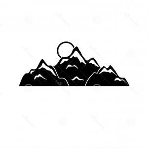 300x300 Set Black And White Mountain Silhouettes Background Border