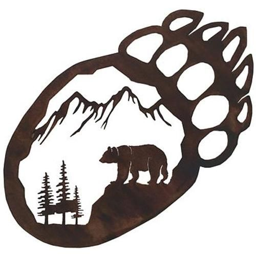 500x500 Bear Paw Metal Wall Art Rocky Mountain Cabin Decor Plasma