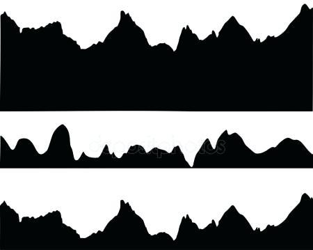 450x359 Mountain Landscape Silhouette Foggy Mountains Landscape Set Vector