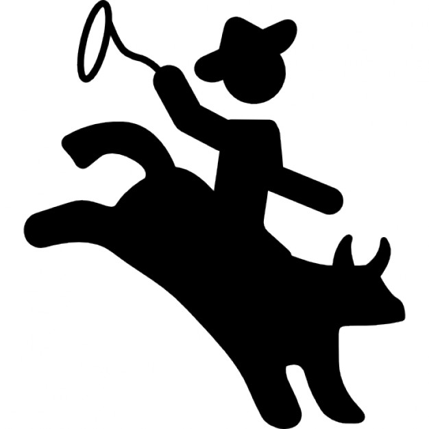 626x626 Rodeo Silhouette Of Mammal Cowboy Riding On Him