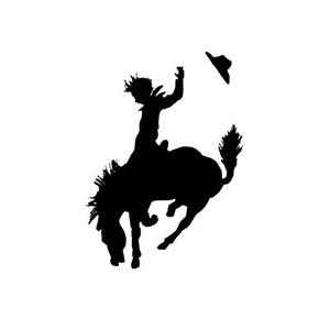 300x300 Cowboy Amp Bucking Bronco Unmounted Horse Silhouette Stamp Small