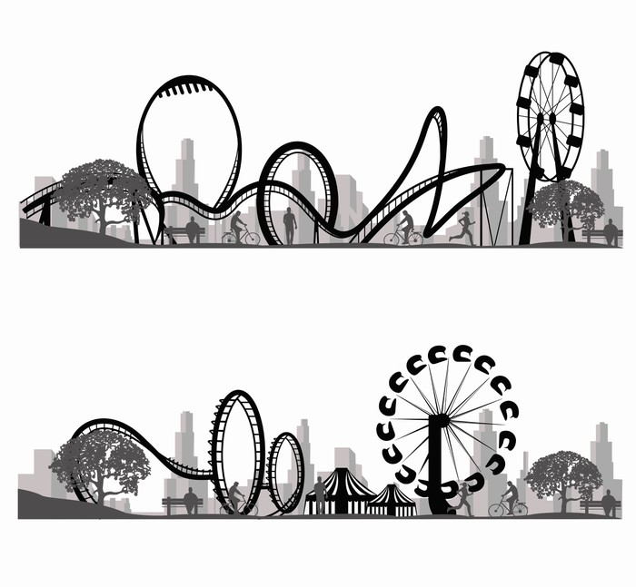 700x647 Vector Illustration.roller Coaster Silhouette Wall Mural Pixers
