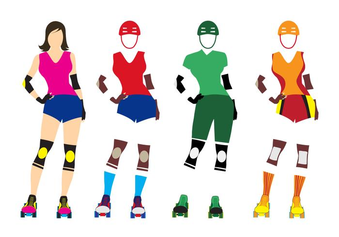 700x490 Illustration Template Of Roller Derby Girl