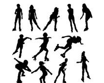 214x170 Roller Skate Silhouette Clip Art