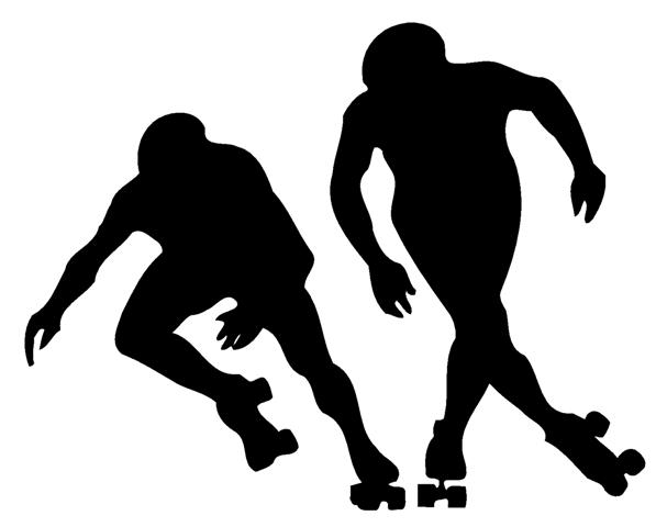 597x480 Roller Skaters Silhouette Decal Sticker