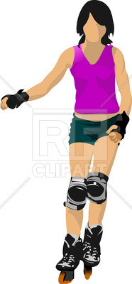 186x400 Silhouette Of Woman Roller Skater Royalty Free Vector Clip Art