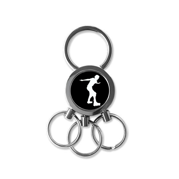 600x600 Black Roller Skating Sport Silhouette Stainless Steel Metal Key