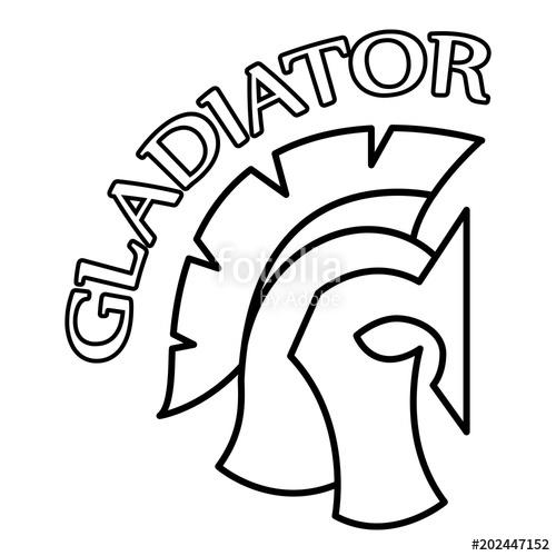 500x500 Spartan Helmet Silhouette With Inscription Gladiator, Greek