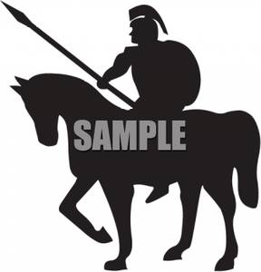 288x300 Of A Roman Soldier On Horseback Holding A Spear