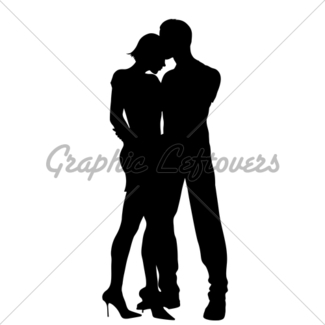 325x325 Hugging Couple Silhouettes Gl Stock Images