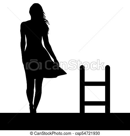 450x470 Woman Silhouette With Ladder On The Roof. Suicide Concept Drawings
