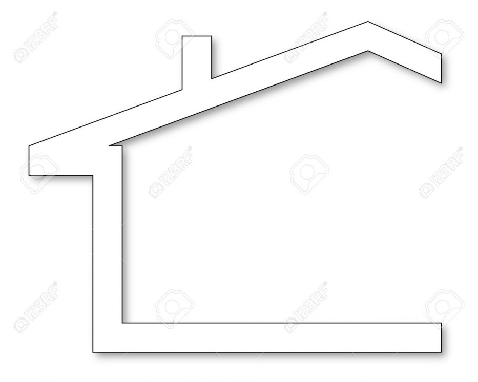 933x746 The Silhouette Of House With A Gable Roof And Chimney Vector Shape