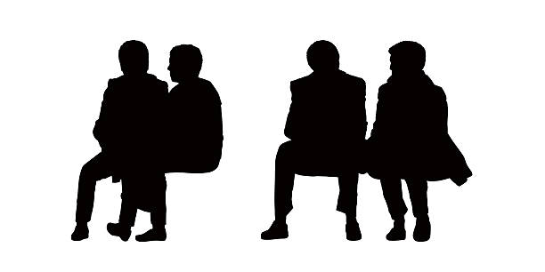 612x306 Silhouette Free Clipart Of 2 Men Setting On A Bench