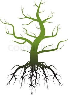 228x320 Tree Silhouette With Roots Stock Vector Colourbox