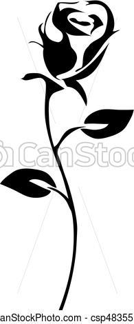 195x470 Rose Icon. Vector Rose Silhouette Clip Art Vector