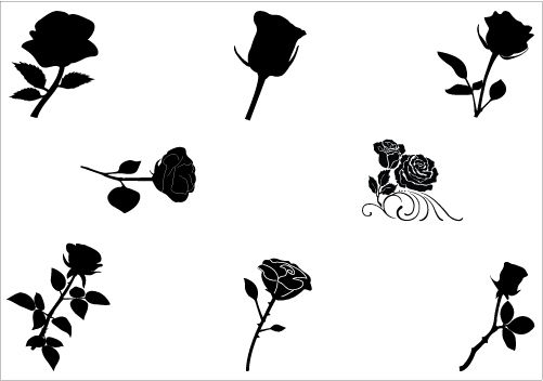501x352 Roses Silhouette Vector Download Rose Vector Silhouette Nature