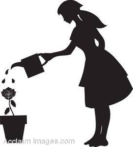 272x300 Silhouette Clipart Image Of A Young Woman Watering A Rose