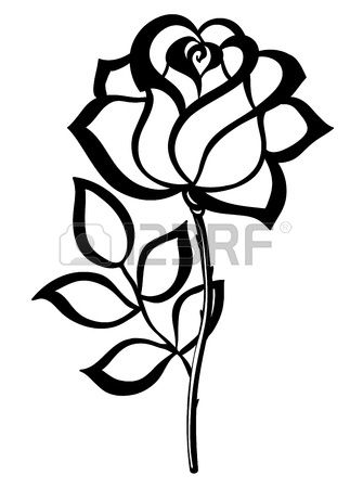 323x450 Black Silhouette Outline Rose Isolated On White Many Similarities