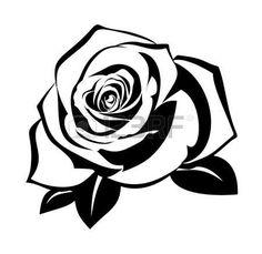236x229 Black Silhouette Of Rose With Stem. Black Amp White