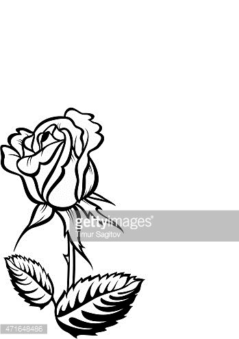 349x494 Rose Silhouette With Stalk And Vector Tattoo Stock Vectors