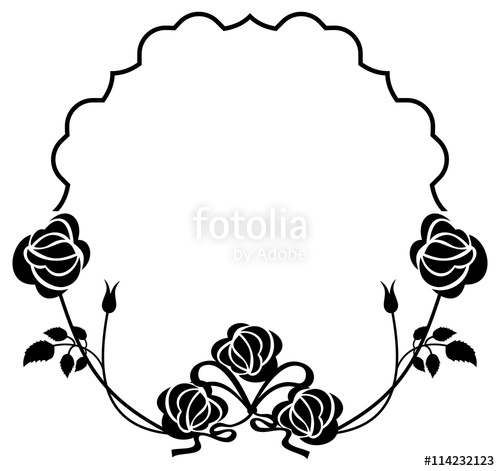 500x471 Black And White Frame With Roses Silhouettes. Vector Clip Art