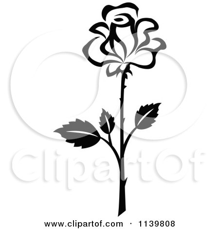 450x470 Clipart Of A Black And White Rose Flower 19
