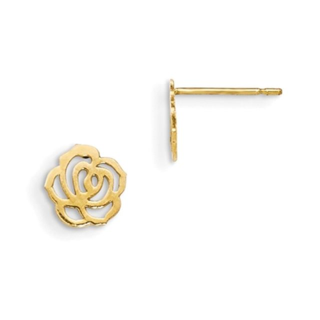 640x640 14k Yellow Gold Hollow Rosebud Silhouette Girls Stud Earrings Ebay