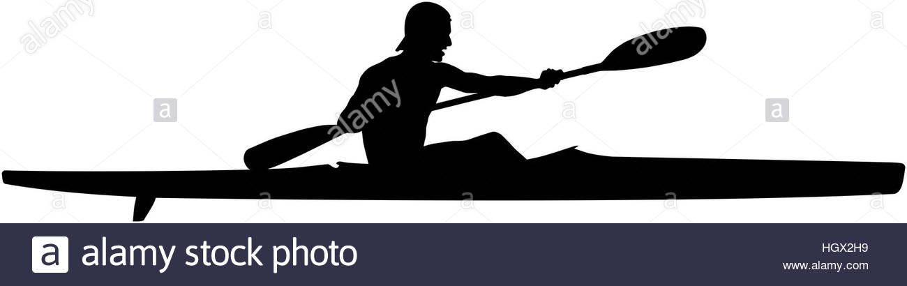 1300x410 Athlete Kayaker Sports Kayak Paddle Black Silhouette Stock Photo