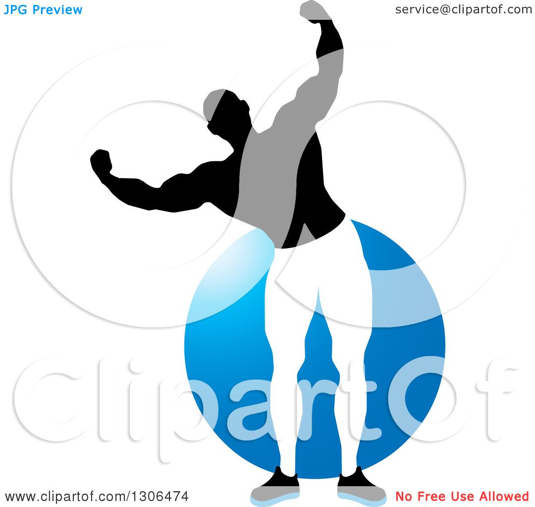 1080x1024 Clipart Of A Flexing Black And White Male Bodybuilder Over A Blue